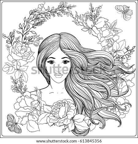 young beautiful girl with long hair in roses garden stock line vector illustration outline - Beautiful Coloring Pages Girls