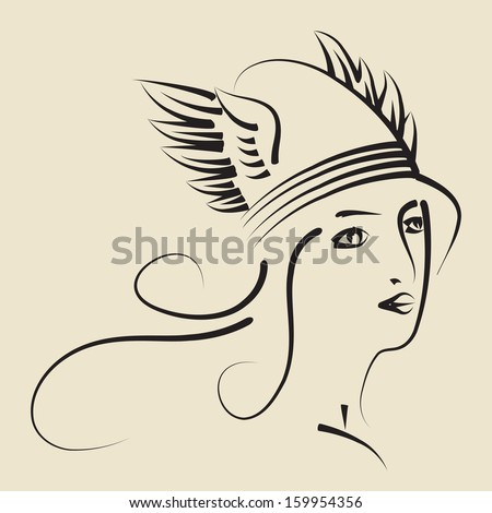 young beautiful woman wearing winged helmet - stock vector