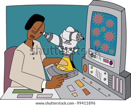 Young black professional biologist looking through a microscope at cells - stock vector