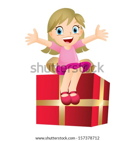 Young blond girl sitting on a big present - stock vector