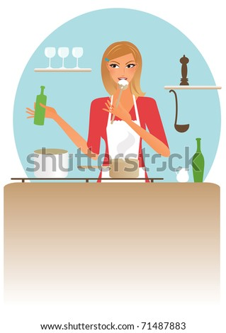 Young blond woman preparing dinner - stock vector