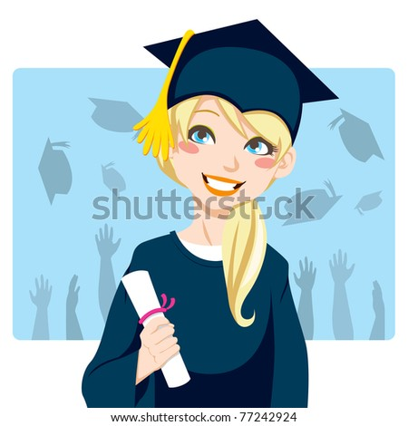 Young blond woman smiling celebrating graduation day holding diploma in her hand - stock vector