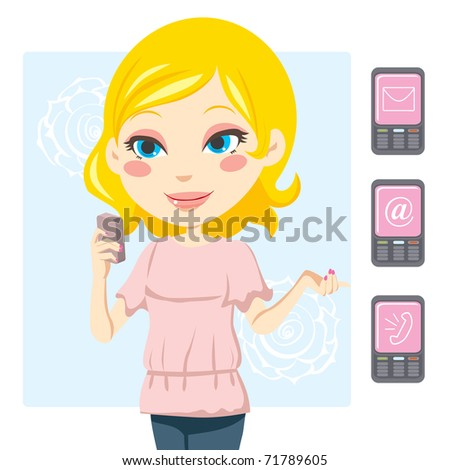 Young blonde woman smiling and sending text messages with her mobile phone - stock vector