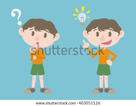 young boy character, posing question and inspiration, vector illustration - stock vector