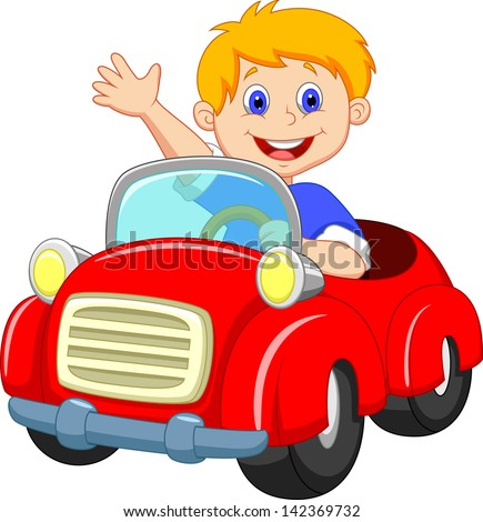 Young boy driving car - stock vector