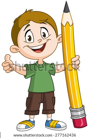 Young boy holding a big pencil and showing thumb up - stock vector
