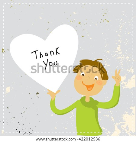 Young boy holding a heart shaped thank you sign. Cartoon thank you card illustration. - stock vector