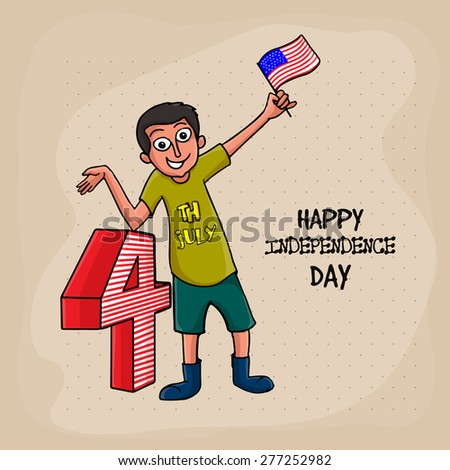 Young boy holding flag and indication indicating towards 4, Concept for American Independence Day celebrations.  - stock vector