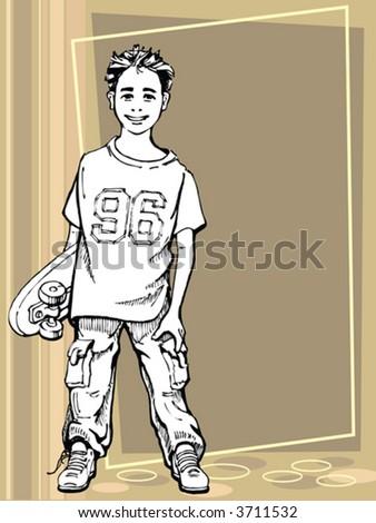 Young boy holding his skateboard - stock vector