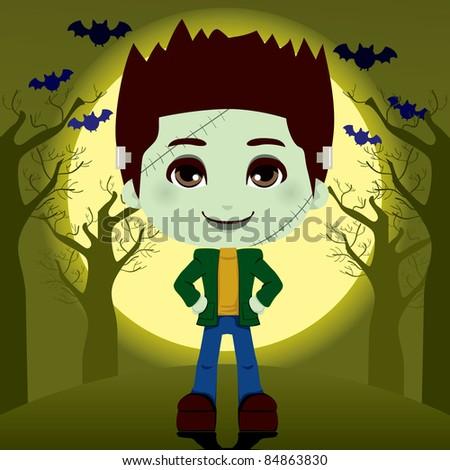 Young boy in frankenstein costume outdoors on full moon halloween night - stock vector