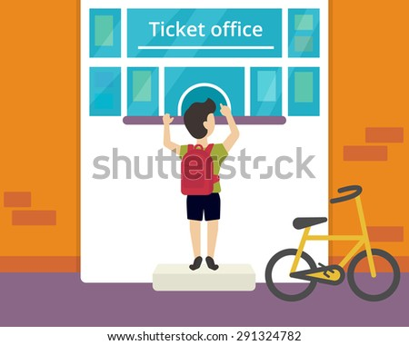 Young boy is buying a ticket to circus - stock vector