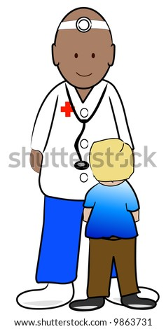 young boy patient talking to his doctor - vector - stock vector