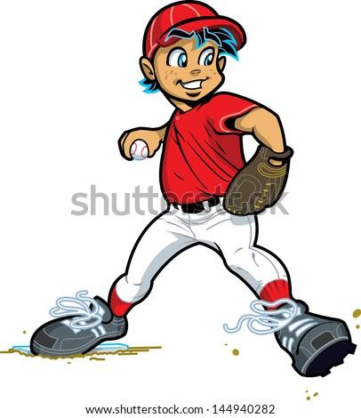 Young Boy Pitcher Baseball Softball Vector de stock144940282 ...