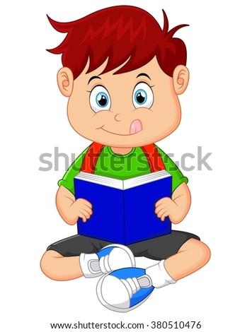 Young boy reading book - stock vector