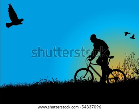 Young boy rides a bicycle recreational through a nature. See similar vector images in my portfolio. - stock vector