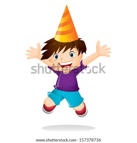Young boy with brown hair jumping excitedly - stock vector