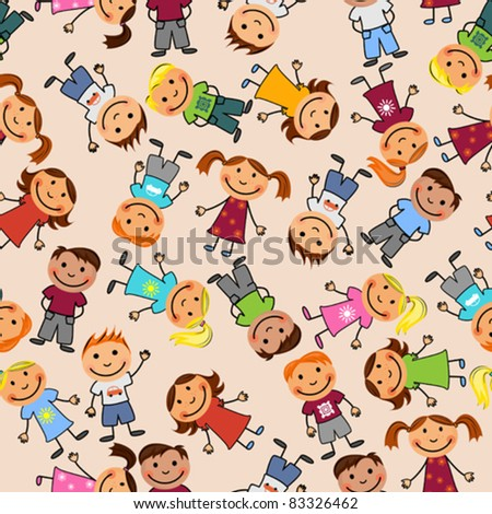 Young boys and girls in seamless pattern - stock vector