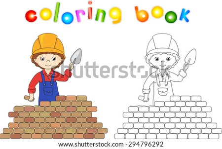 Young builder or engineer in a uniform and helmet with trowel near the brick wall. Coloring book. Game for children. Vector illustration - stock vector