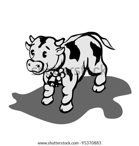 young bull with bell good cartoon - stock vector