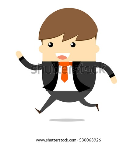 Young Business man happy and running , Cartoon vector design