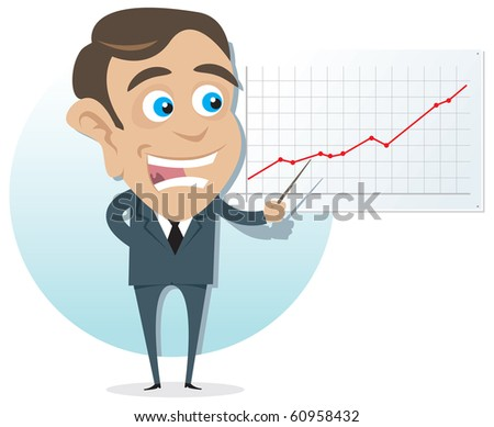 Young Business Man presenting company growth on graph. - stock vector