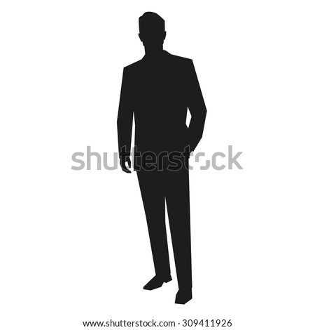 Young business man silhouette - stock vector