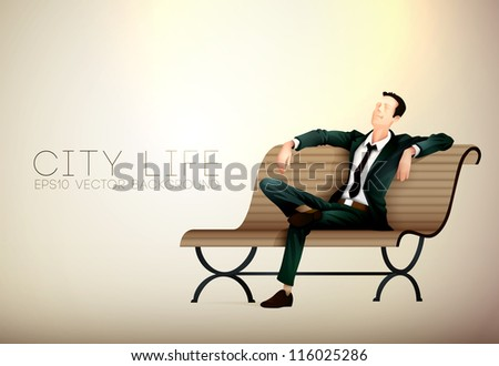 Young business man taking a relaxing break on a bench | City Life Series | Vector EPS10 with organized layers - stock vector