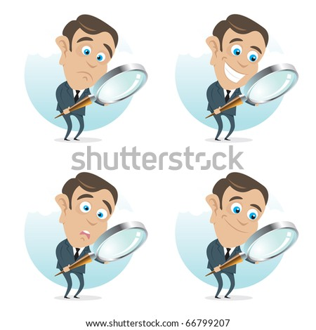 Young business man with a magnifier in hand, four different face expressions.