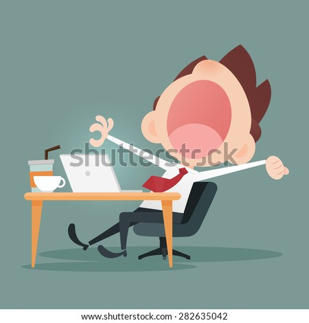 Young business man yawning - stock vector
