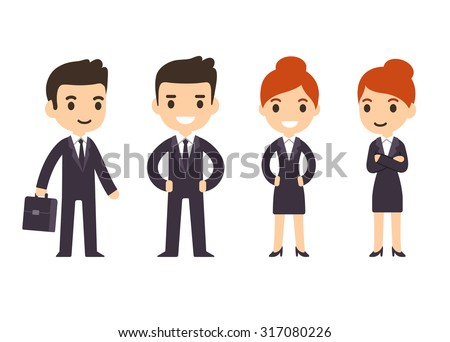 Young business people, man and woman, in cartoon style in suit with suitcase. Isolated on white background. - stock vector