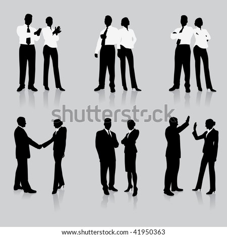 Young business people silhouettes - stock vector