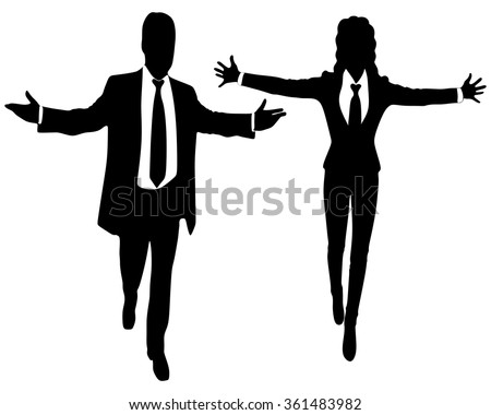 Young business people smiling with arms open - stock vector