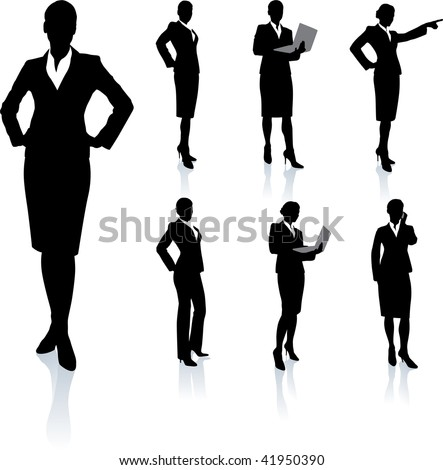 Young business woman silhouettes - stock vector