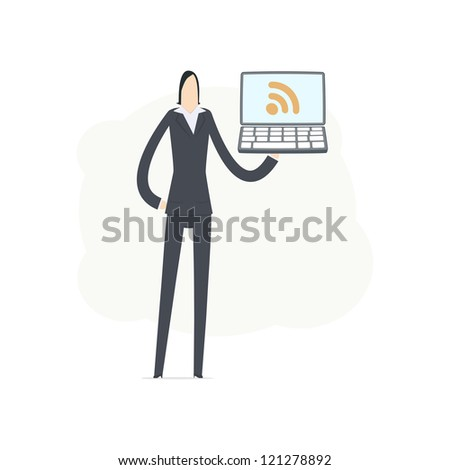 young business woman using rss - stock vector