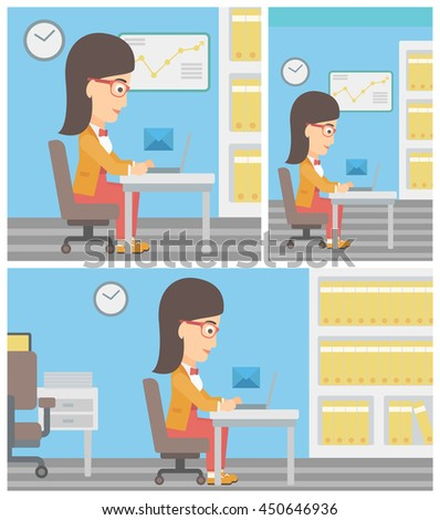 Young business woman working on her laptop in office and receiving or sending email. Business technology, email concept. Vector flat design illustration. Square, horizontal, vertical layouts. - stock vector