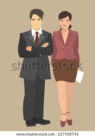 Young businessman and business woman standing next to his full height  - stock vector