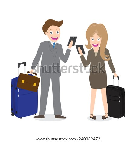 Young businessman and woman holding cell phone with luggage isolated on white background. - stock vector