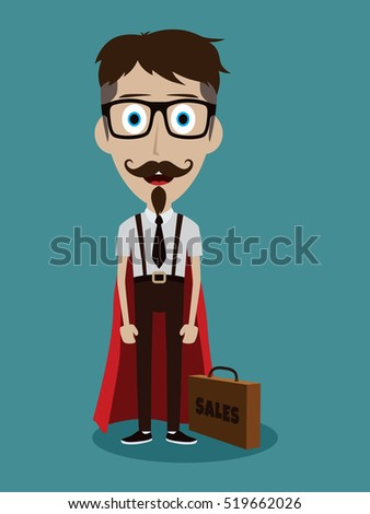 Young businessman in flat style cartoon superhero with briefcase