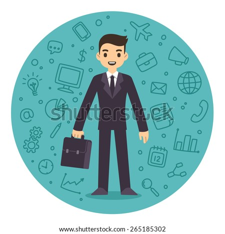 Young businessman in suit with suitcase surrounded by a pattern of business related symbols. Flat cartoon style vector. - stock vector