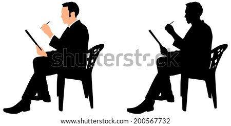 Young businessman signs contract on a black folder, vector - stock vector