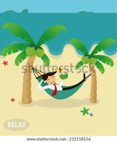 Young businessman sleeping in a hammock on the beach ,vector illustration - stock vector