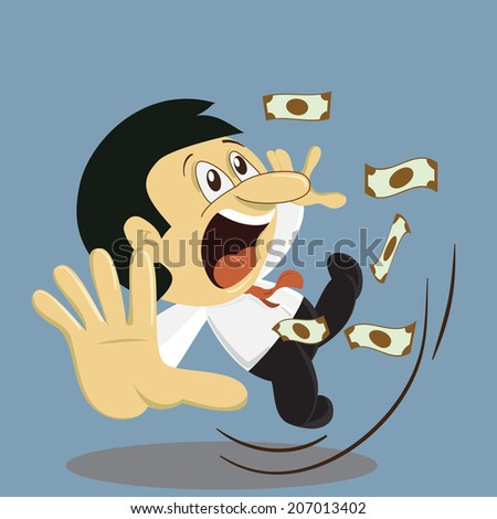 Young businessman slip and falling down from failure of investment. - stock vector