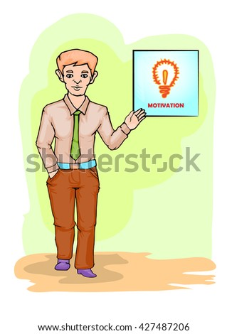 young businessman standing and giving motivation cartoon illustration - stock vector