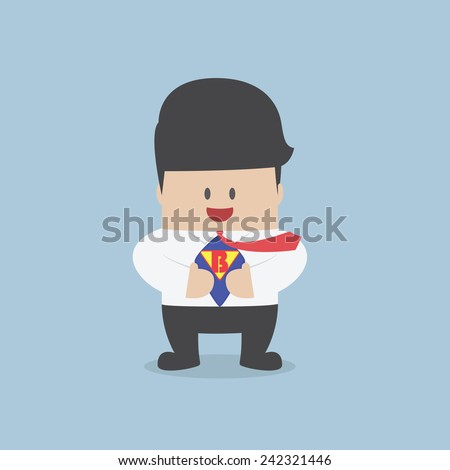 Young businessman tearing his shirt and showing the superhero suit, VECTOR, EPS10 - stock vector
