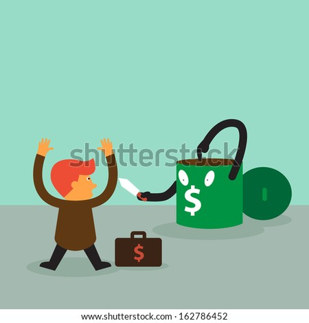 Young businessman was rob by robber bin a vector concept - stock vector