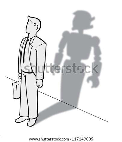 young businessman with briefcase with robot shadow
