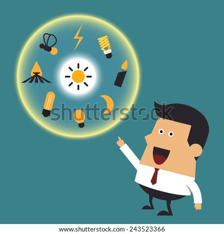 Young businessman with many ideas, Business idea - stock vector