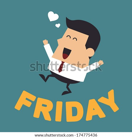"Young Businessman With the Word ""Friday"", Business concept - stock vector"