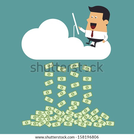 Young businessman working on cloud, Business idea - stock vector