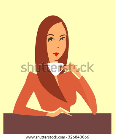 Young businesswoman drinking coffee, tea break time in bright office.